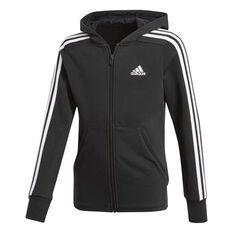 adidas Girls 3 Stripes Hoodie Black / White 8, Black / White, rebel_hi-res