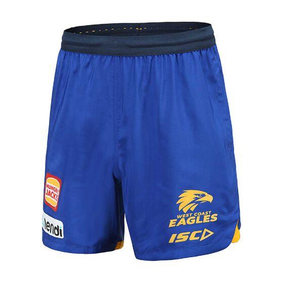 West Coast Eagles 2020 Mens Training Shorts, Blue / Yellow, rebel_hi-res