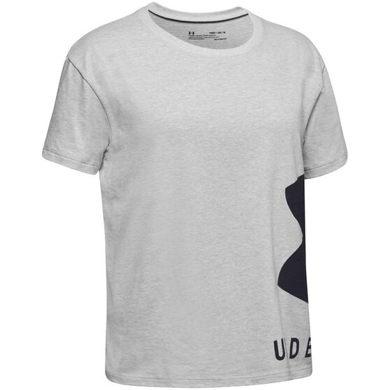 Under Armour Girls Sportstyle Tee, Grey / Black, rebel_hi-res