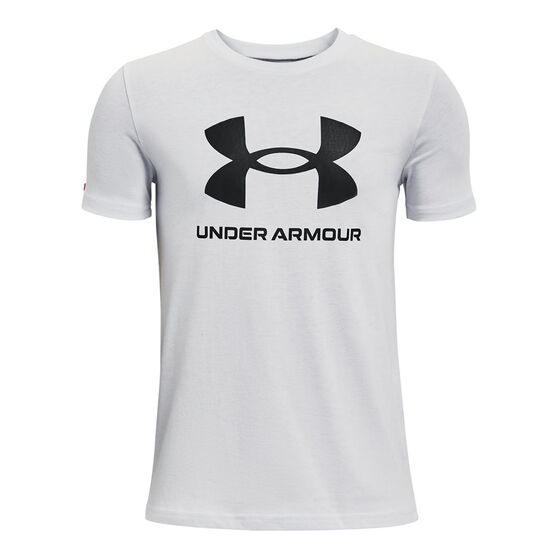Under Armour Boys Sportstyle Logo Tee, Grey, rebel_hi-res