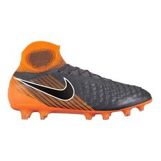 Nike Magista Obra II Elite DF Mens Football Boots Grey / Orange US 7 Adult, Grey / Orange, rebel_hi-res