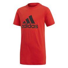 adidas Boys Essentials Logo Tee Red / Black 8, Red / Black, rebel_hi-res