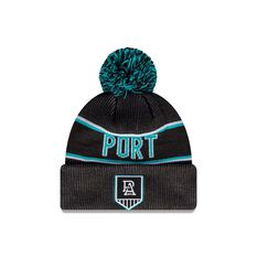 Port Adelaide Power New Era Supporter Beanie Black/Blue OSFA, , rebel_hi-res