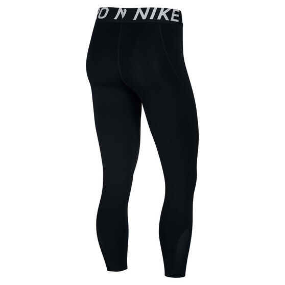 Nike Pro Womens Cropped Tights, Black / White, rebel_hi-res