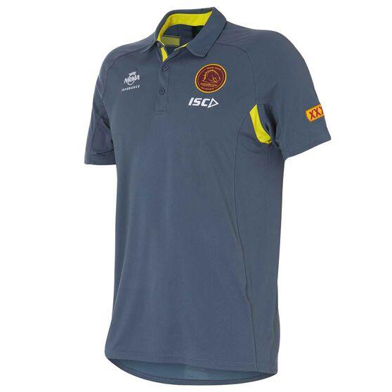 Brisbane Broncos 2018 Mens Sublimated Polo Shirt, Grey, rebel_hi-res