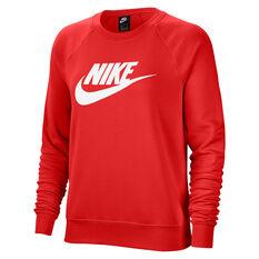 Nike Womens Sportswear Essential Fleece Sweatshirt, Red, rebel_hi-res