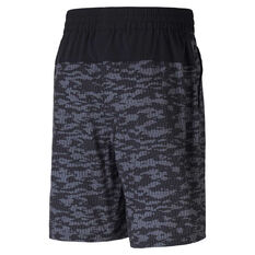 Puma Mens AOP Woven 8in Training Shorts Black S, Black, rebel_hi-res