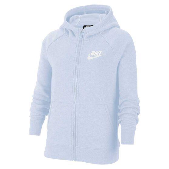 Nike Girls Sportswear Full Zip Hoodie Grey / White XS, Grey / White, rebel_hi-res