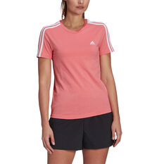 adidas Womens Essentials 3-Stripes Tee Orange XS, Orange, rebel_hi-res