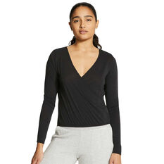 Nike Womens Yoga Long Sleeve Top, Black, rebel_hi-res
