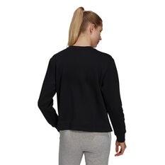 adidas Womens Essentials Small Logo Fleece Cropped Sweatshirt Black XS, Black, rebel_hi-res