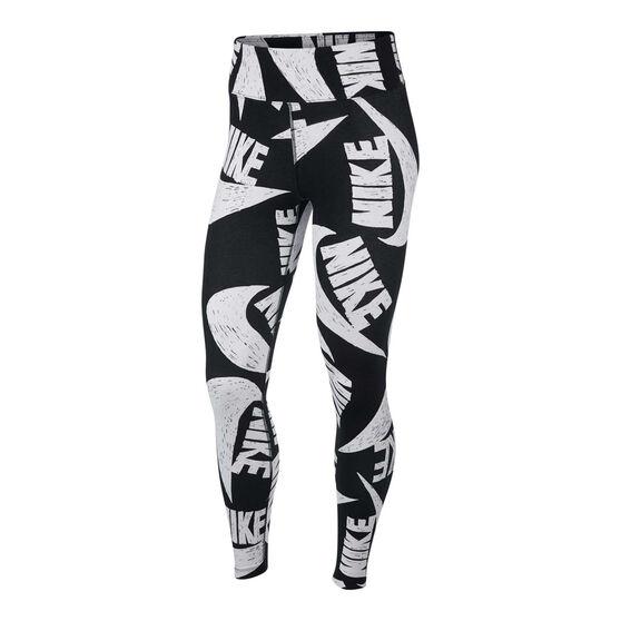 Nike Womens Icon Clash Tights, Black / White, rebel_hi-res