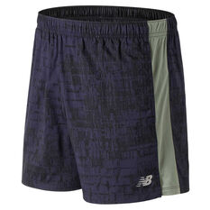 New Balance Mens Printed Accelerate 5in Shorts Green S, Green, rebel_hi-res