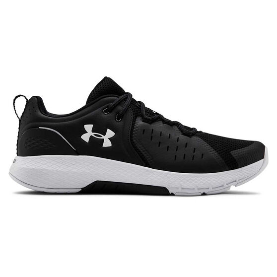 Under Armour Charged Commit 2 Mens Training Shoes, Black/White, rebel_hi-res