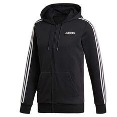 adidas Mens Essentials 3-Stripes Full Zip Fleece Hoodie Black XS, Black, rebel_hi-res