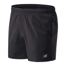 New Balance Mens Core 5in Woven Shorts Black XS, Black, rebel_hi-res