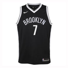 Nike Brooklyn Nets Kevin Durant 2019/20 Kids Icon Edition Swingman Jersey Black / White S, Black / White, rebel_hi-res