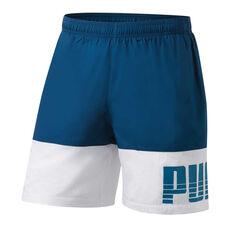 Puma Mens Rebel Bold Woven Shorts Blue S, Blue, rebel_hi-res