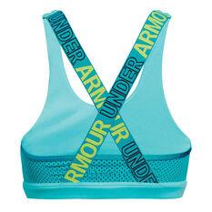 Under Armour Girls HeatGear Graphic Sports Bra Blue / Green XL, Blue / Green, rebel_hi-res