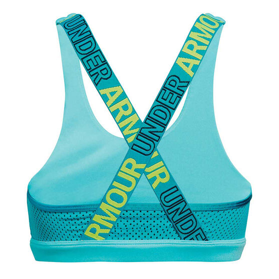 Under Armour Girls HeatGear Graphic Sports Bra, Blue / Green, rebel_hi-res