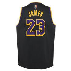 Nike Los Angeles Lakers LeBron James 2020/21 Kids Earned Jersey Black S, Black, rebel_hi-res