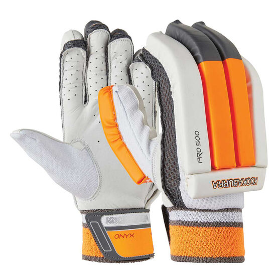 Kookaburra Onyx Pro 500 Cricket Batting Gloves, White / Orange, rebel_hi-res