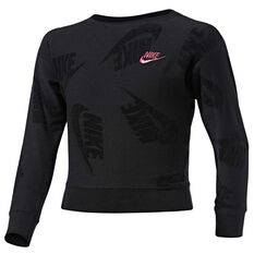 Nike Sportswear Girls Futura Novelty Sweatshirt Heather Black 5, Heather Black, rebel_hi-res