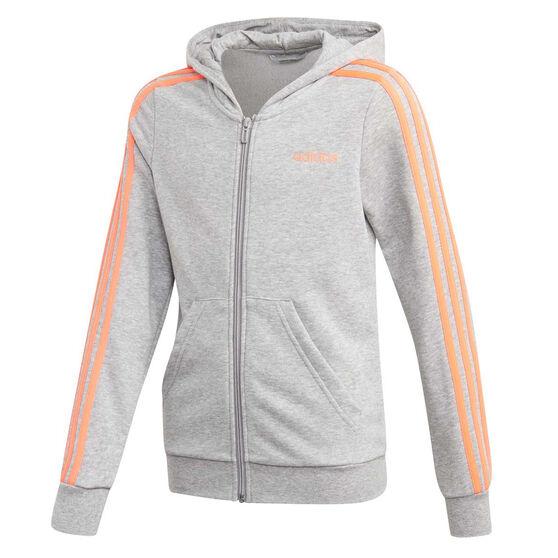 adidas Girls Essentials 3 Stripes Hoodie, Grey, rebel_hi-res