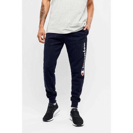 Champion Mens Script Cuff Pants, Navy, rebel_hi-res