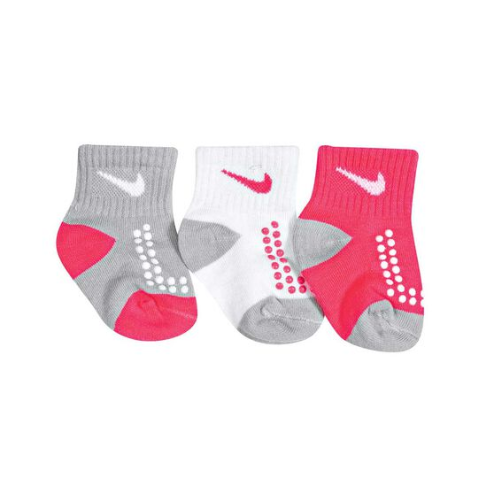 Nike Infant Swoosh Gripper Socks 3 Pack, Pink / Grey, rebel_hi-res