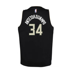 Nike Milwaukee Bucks Giannis Antetokounmpo Kids Statement Swingman Jersey Black S, Black, rebel_hi-res