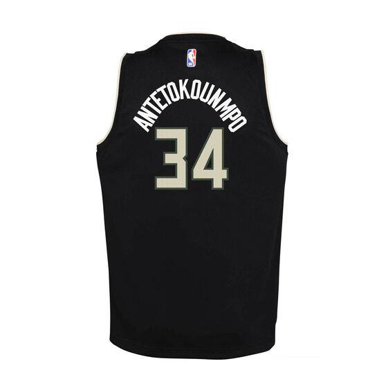 Jordan Milwaukee Bucks Giannis Antetokounmpo Kids Statement Swingman Jersey, Black, rebel_hi-res