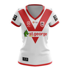 St George Illawarra Dragons 2019 Womens Home Jersey White / Red 8, White / Red, rebel_hi-res