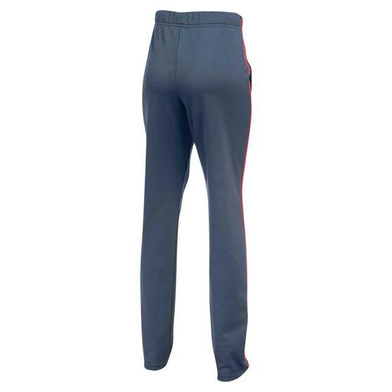 Under Armour Girls Track Pants, Grey / Pink, rebel_hi-res