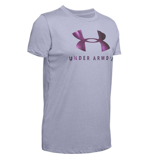 Under Armour Womens Sportstyle Graphic Classic Tee, Purple, rebel_hi-res
