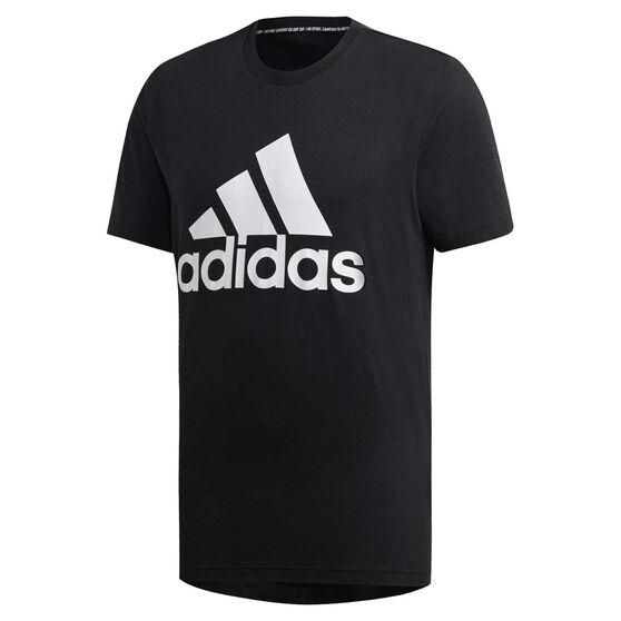 adidas Mens Must Haves Badge of Sport Tee, Black / White, rebel_hi-res