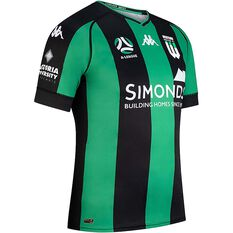 Western United FC 2020/21 Mens Home Jersey Black / Green S, Black / Green, rebel_hi-res