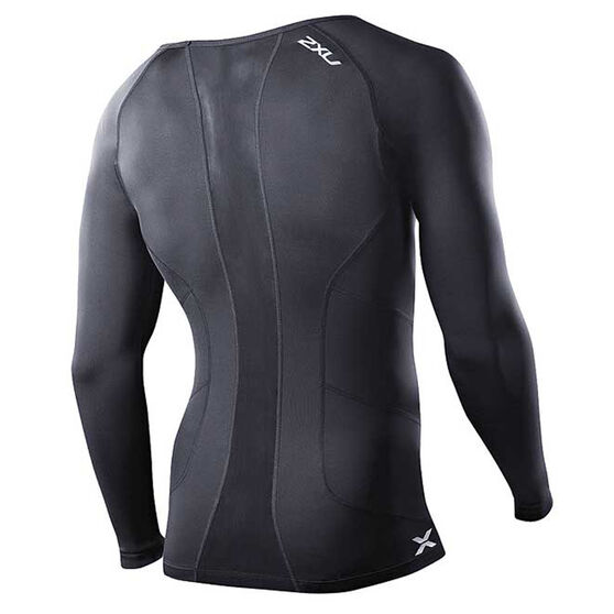 2XU Mens Long Sleeve Compression Top, Black, rebel_hi-res