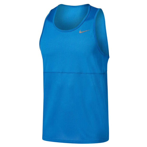 Nike Mens Breathe Running Tank Blue S, Blue, rebel_hi-res