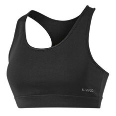 Ell & Voo Womens Krissie Workout Sports Bra Black 8, Black, rebel_hi-res