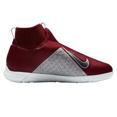 Nike Phantom Vision Academy Junior Indoor Soccer Shoes Red / Grey US 2, Red / Grey, rebel_hi-res