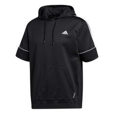 adidas Mens Primeblue Short Sleeve Hoodie Black S, Black, rebel_hi-res