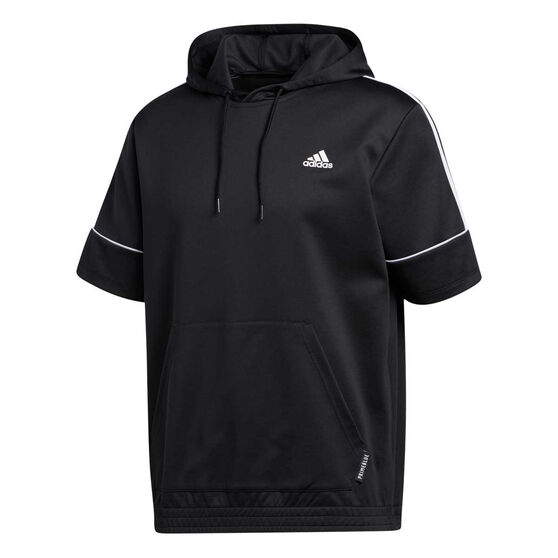 adidas Mens Primeblue Short Sleeve Hoodie, Black, rebel_hi-res