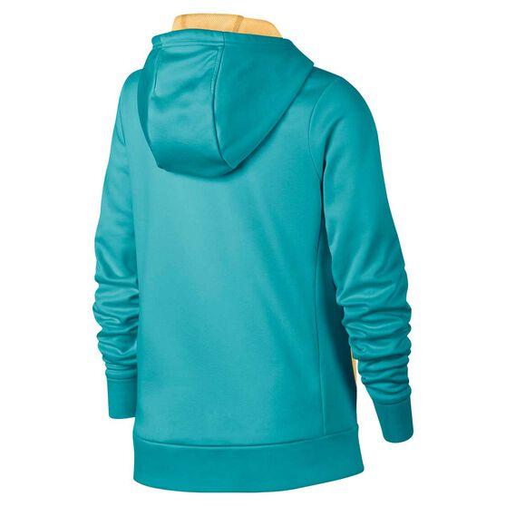 Nike Therma Girls Training Pullover Hoodie Green / Yellow XS, Green / Yellow, rebel_hi-res