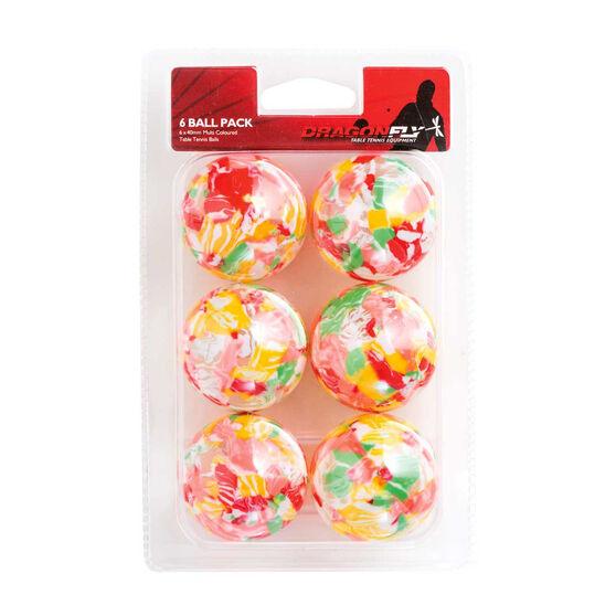 Dragonfly Multicolour Table Tennis Balls 6 Pack Multicolour, , rebel_hi-res