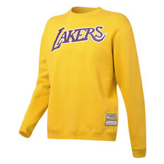 Los Angeles Lakers Mens Wordmark Crew Sweatshirt Gold S, Gold, rebel_hi-res