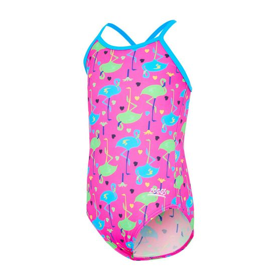 Zoggs Toddler Girls Flamingo Classic Back One Piece Swimsuit, Multi, rebel_hi-res