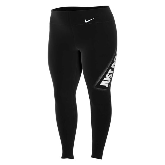 Nike Womens One Just Do It Tights Plus, Black, rebel_hi-res