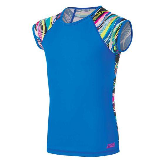 Zoggs Girls Short Sleeve Sun Top Blue 8, Blue, rebel_hi-res