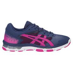 Asics Gel Netburner Academy 8 Womens Netball Shoes Blue / Pink US 6, Blue / Pink, rebel_hi-res